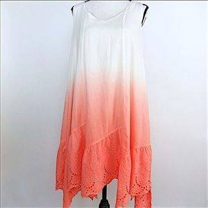 NWOT Mystree Ivory & Coral Ombre Dyed dress sz L